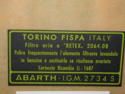 ABARTH AIR FILTER STICKER