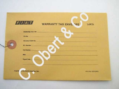 WARRANTY TAG ENVELOPE