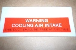 WARNING AIR INTAKE DECAL