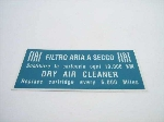 FIAT DRY AIR CLEANER STICKER