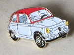 WHITE & RED FIAT 500 PIN