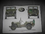 WILLYS JEEP 3 VIEW POSTER