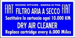 FIAT DRY AIR FILTER STICKER