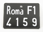 REAR ROMA LICENSE PLATE